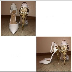 White Pumps with Gold Detail